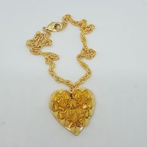 Gold spike heart necklace gold rope chain new